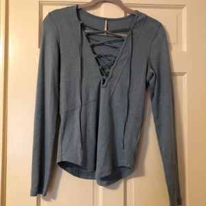 Free People Blue Lace Up Blouse